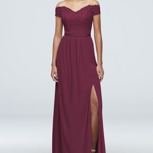 Off-the-Shoulder Lace Mesh Bridesmaid Dress F19950